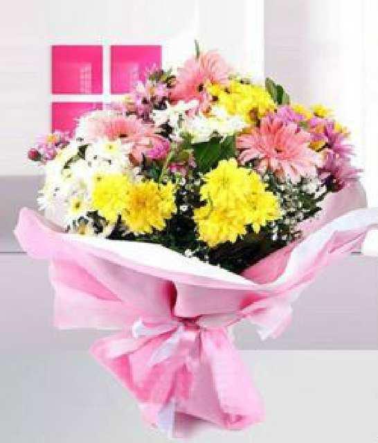 karışık mevsim çiçeği buketi 2